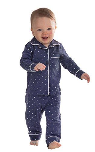 PajamaGram Classic Cotton Polka-Dot Pajama Set with Long Sleeves, Navy, 2T