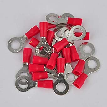 20pcs 16-22 AWG RV 1.25-6 Insulated Crimp Ring Terminal Wire Connector Red
