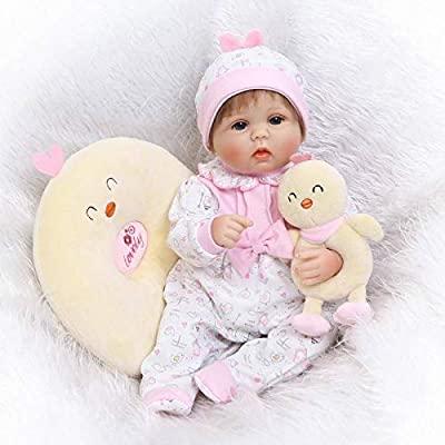Nicery Reborn Baby Doll Soft Simulation Silicone Vinyl 18inch 45cm Lifelike Magnetic Mouth Vivid Boy Girl Toy Yellow Chick Pillow RD45C079L: Toys & Games