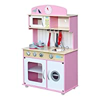 Rovo Kids Wooden Toy Kitchen Play Set, Pink and White