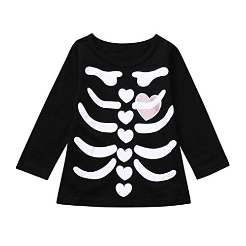 Clearance Sale Toddler Clothes - vermers Infants Fashion Skeleton Print Tops Halloween Costume Outfits Set(18M, Pink)