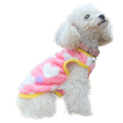 Doggy Clothes,Neartime Villus Pet Vest Winter Dog Leopard Teddy Clothing Warm (M, Pink) (Doggy Clothing)