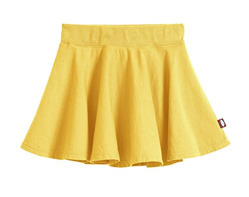 Short Kids Skirt - City Threads Big Girls' Cotton Twirly Skirt Perfect For Sensitive Skin/SPD/Sensory Friendly For School or Play Fall/Spring, Yellow, Size - 4