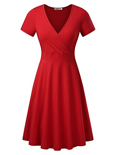 MSBASIC Women's Deep V Neck Short Sleeve Unique Cross Wrap Casual Flared Midi Dress X-Large Wine