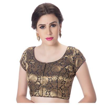 829368cc97759 Rinkoo Womens Designer Brocade Black Princess Cut Padded Short Sleeves Readymade  Saree Blouse (R551-