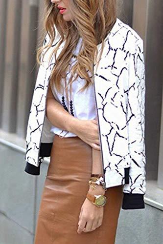 Outerwear Glamorous Donna Whitee Moda Cappotto Con Accogliente Eleganti Tempo Semplice Libero Outdoor Stampate Giacca Cerniera Autunno Manica Lunga Baseball Haidean Di Giaccone Primaverile a5qBW4wxP