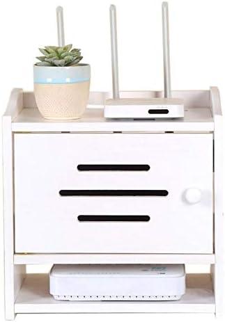 Xyanzi-DVDラック セットトップボックスワイヤー仕上げボックスルーター収納ボックスDVDゲーム機無垢材、4色 機能的な収納棚 (色 : 白)