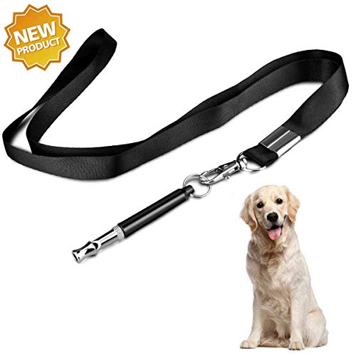 XQFI Dog Whistle,Professional Adjustable Pitch Ultrasonic Dog Training Whistle to Stop Barking, Black Color with Free Premium Lanyard Strap(2018 Upgrade)