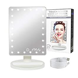 Makeup Mirror with Lights, Lighted Vanity Mirror Light Adjustable, Led Makeup Mirror for Travel, Battery Operated, Color Boxed, White