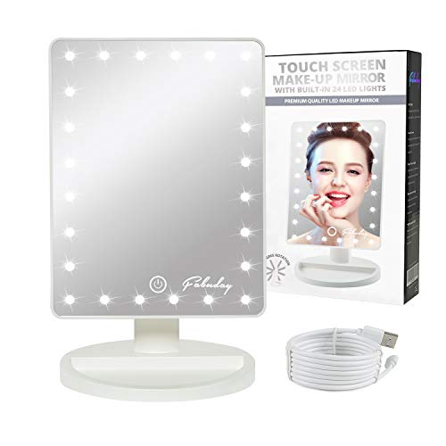 (Makeup Mirror with Lights, Lighted Vanity Mirror Light Adjustable, Led Makeup Mirror for Travel, Battery Operated, Color Boxed, White)