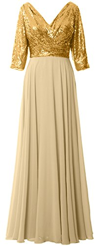 MACloth Women 3/4 Sleeve V Neck Mother Dress Sequin Chiffon Wedding Formal Gown Gold-Champagne