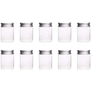 10Pcs Glass Sealed Bottle with Screw Aluminum Cap Clear Tiny Empty Sample Vials Glass Jars Containers
