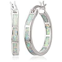 Naomi Life Stage White/Blue Fire Opal 925 Sterling Silver Round Hoop Dangle Earrings Women's Fashion Jewelry White one Size
