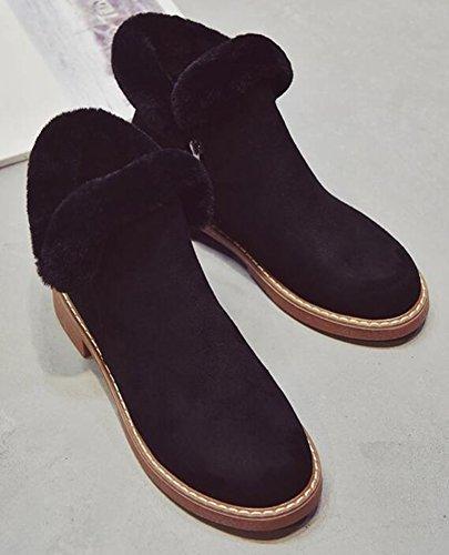 Booties Faux Suede Fluffy Low Fur Heels IDIFU Chunky Side Black Boots Womens Ankle Retro Zipper qwnxOCBOZ