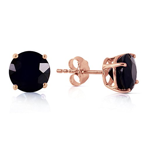 3 Carat Total Weight Black Diamond Solitaire Stud Earrings Pair set in 14K Rose Gold Popular Value Collection by Houston Diamond District