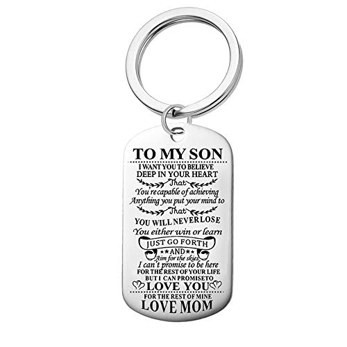 Jvvsci Dad Mom to Son Keychain I Want You to Believe Deep in Your Heart Inspirational Message Keychain Birthday Gift for Boys Teen (mom to Son Keychain) (Best Birthday Message For Son)