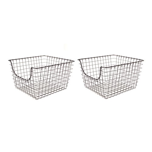 Spectrum Diversified Scoop Wire Storage Basket, Medium, Industrial Gray, 2-Pack by Spectrum Diversified