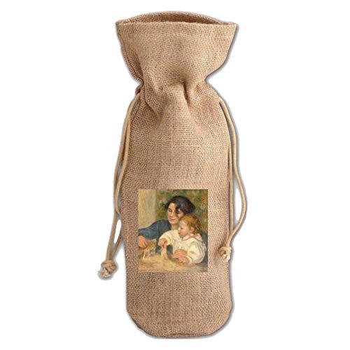 Gabriel And Jean (Renoir) Jute Burlap Burlap Wine Drawstring Bag Wine ()