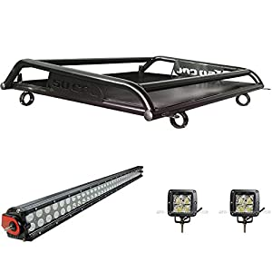 Custom Bolt-on Roof Rack Cargo Storage Off-Road Camping Gear Luggage System with LED Driving Light Bar + Pod Lights 2014 2015 2016 2017 2018 Polaris RZR XP1000 / 2016 2017 2018 XP Turbo 2 Seat[6026A1]