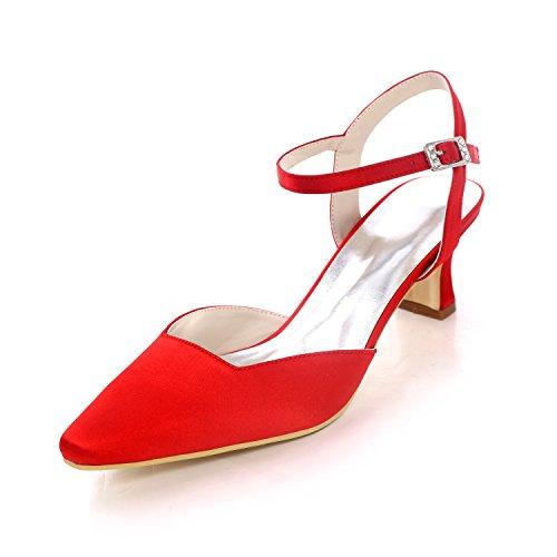 Zapatos De Mujer Zapatos De Boda De La Bomba De Satén Block Heel Square Hebilla Del Dedo Del Pie Para El Banquete De Boda Y La Noche Plata Azul Oscuro Rojo,White,42 Red