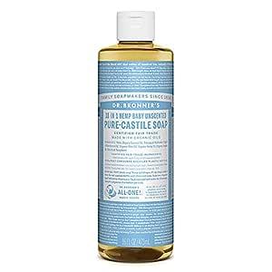 Dr. Bronner's 18-in-1 Hemp Pure-Castile Soap w. Organic Oils - Unscented Baby Mild- 16 oz - 2 pk