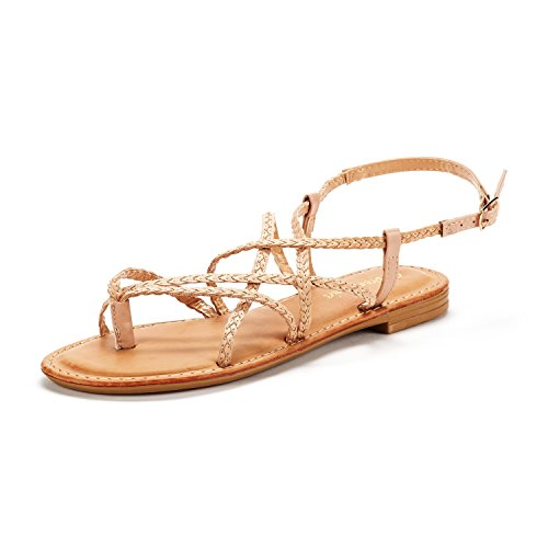 DREAM PAIRS Women's Nude Pu Thong Design Strappy Flat Sandals Size 10 M US Crox_02