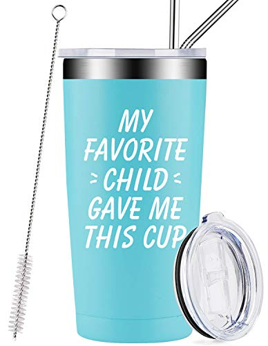 My Favorite Child Gave Me This Cup, Best Mom Dad Gifts from Daughter, Son, Kids, Mother's Day Funny Present Idea for Women, Men, Him, Her, Father, Tumbler with Lid and Straw
