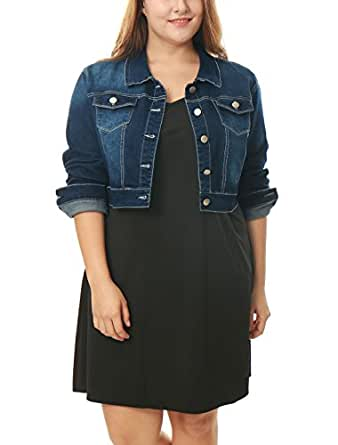 Agnes Orinda Women's Plus Size Button Closed Cropped Denim Jacket 1X Dark Blue