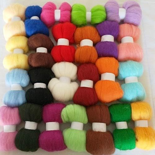 Maslin 70S Wool for Felting Sets Wool Fiber 10g/Bag 24colors Wool roving - (Color: 10g 24colors)