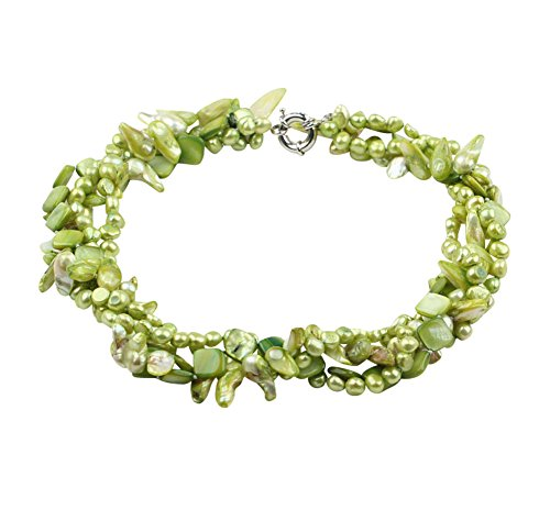 TreasureBay Womens Classic Design Multi-Strands Lime Green Freshwater Pearl And Green Shell Twisted Necklace