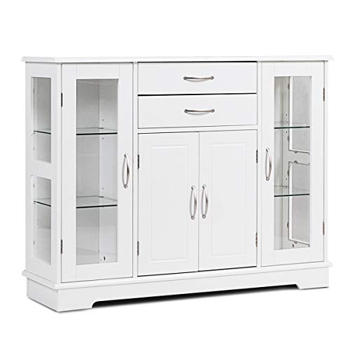 Server Drawer 2 Kitchen (Karlory Sideboard Buffet Server Storage Cabinet Console Table Kitchen Dining Room Furniture Entryway Cupboard with 2 Drawers and 3 Cabinets with Glass Doors, White)