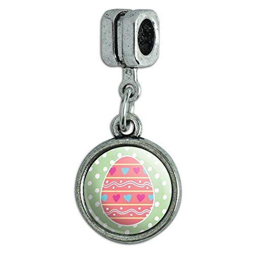 GRAPHICS & MORE Cute Easter Egg Pink with Hearts Italian European Style Bracelet Charm Bead