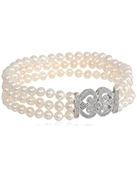 """Sterling Silver Triple Strand Freshwater Cultured Pearl and Diamond Accent Art Deco Bracelet, 8"""""""