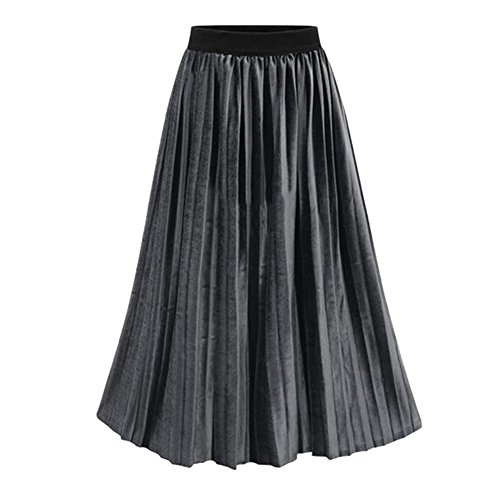 Europe and the United States wind NEW autumn and winter new large size elasticized pleated skirts women long skirt Gray - Mall Adelaide