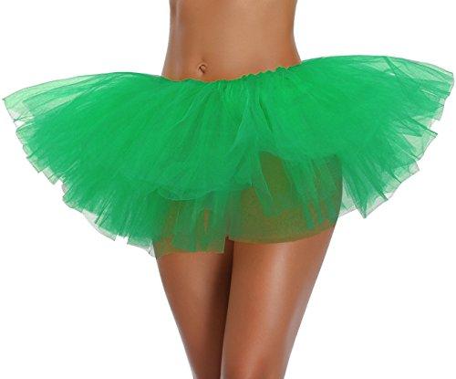 V28 Women's Teen Adult Classic 5 Layered Full Tulle Tutu Skirt (One Size, SanteGreen 5Layer)]()