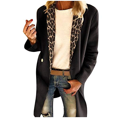 Women's Lapel Coat Mid-Long Peacoat Trench Coat Leopard Stitching Button Down Overcoat Pea Coat Jackets