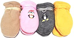 Set of Four Pairs Very Warm Fleece Mittens for Infants Ages 6-24 Months