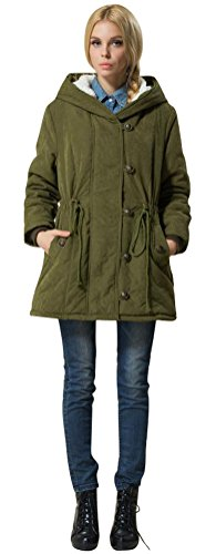 Wool Belted Military Coat - ACE SHOCK Winter Coats for Women Plus Size, Lamb Wool Lined Jackets Hooded Parka MD Long (1X, Army Green)