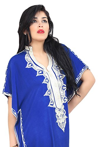 Moroccan Caftan Hand Made Top Quality Breathable Cotton with Hand Embroidery Long Length Blue by Moroccan Caftans (Image #3)