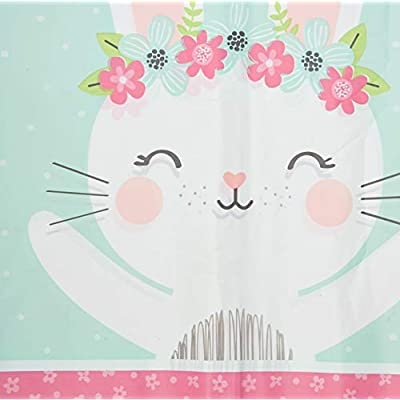 Creative Converting Party Supplies, Bunny Party Plastic Tablecloth, Tablecover, Multicolor, 108X54In: Toys & Games