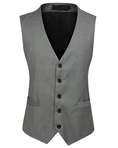 YBang Mens Vest V-Neck Single Breasted Slim Fit Casual Dress Suit Waistcoat WD001 (Grey,L)