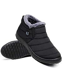Ymombest Women Men Lightweight Snow Boots Winter Anti-Slip Ankle Booties Waterproof Slip On Warm Fur Lined Sneaker