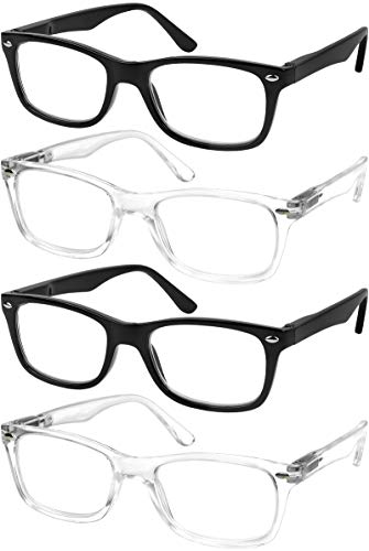 Reading Glasses Set of 4 Quality Readers Spring Hinge Glasses for Reading for Men and Women Set of 2 Black and 2 Clear +1.5