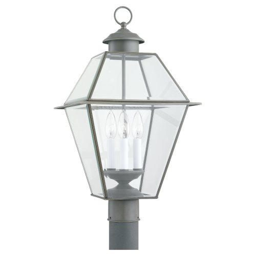 Sea Gull Lighting 8258-71 Outdoor Post Mount with Clear BeveledGlass (Brass Outdoor Post Mount)