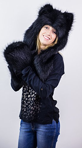 Futrzane Faux Fur Animal Hats Hoods Ski with Mittens Unisex Gloves Scarf (Black Wolf)