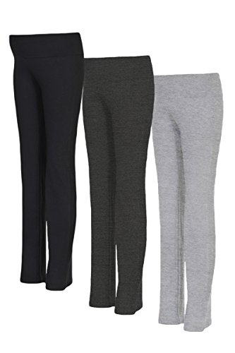 Beachcoco Women's Maternity Fold Over Comfortable Lounge Pants (L, Black&Charcoal&H.Grey (3 Pack))