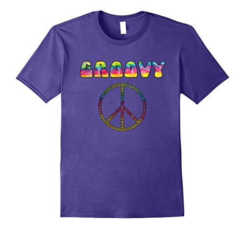 Groovy Love Peace Sign (Mens Vintage Retro 1970s Tie Dye Groovy Peace Sign T-Shirt 2XL Purple)