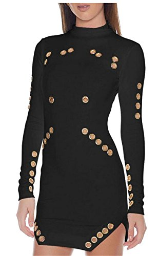 HTOOHTOOH Women Sexy Skinny Fit Hollow Eyelets Long Sleeves Dresses Black S