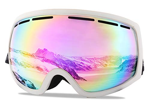 Wantdo Adult Ski Goggle Snowboard Glasses Snowmobile Skate Motorcycle Riding Dual Layers Lens Anti-Fog UV 400 Protection OTG Helmet Compatible for Men Women Youth Unisex Pink (Mirrored Snowboard Goggles)