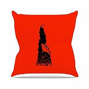 """KESS inhouse rt1053aop0318x 45,7""""barmalisirtb Escalada Negro y Rojo Cojín Manta de exterior, multicolor"""